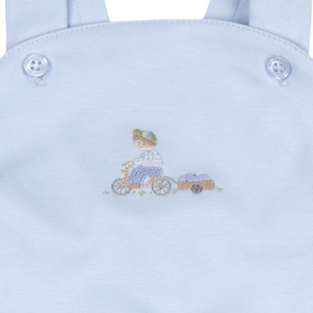Jardineira Bebê Algodão Pima Curta Azul Bordado Bicicleta