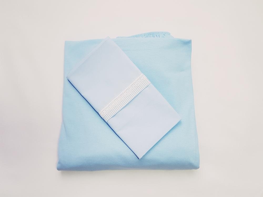 Lençol Avulso Berço em Malha c/ Elástico + Fronha Azul de Rendinha 100% Algodão