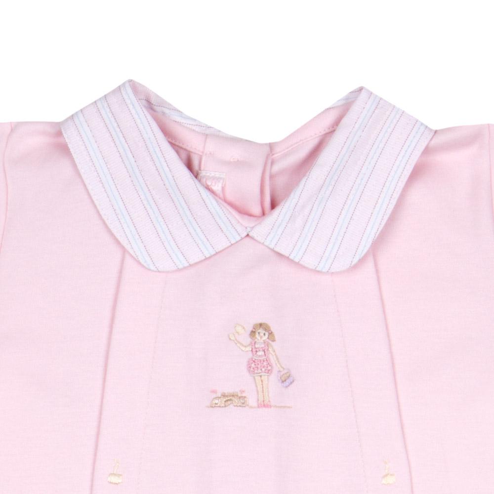 Macacão Bebê Algodão Pima Curto Rosa Bordado Praia