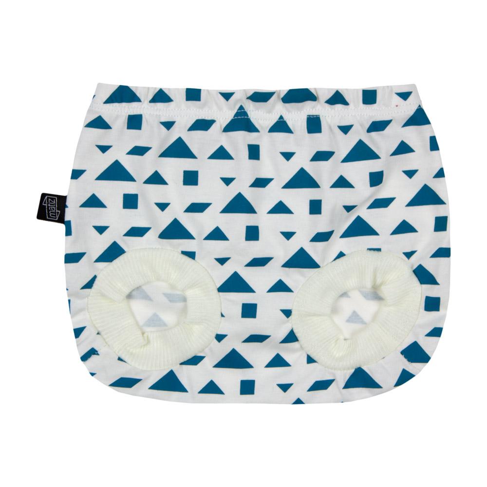 Short Bebê Tapa-Fralda em Algodão Orgânico Estampada Azul