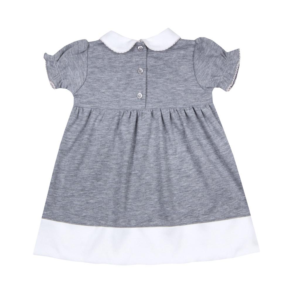 Vestido Bebê Algodão Pima Cinza c/ Rosa Bordado Coelha