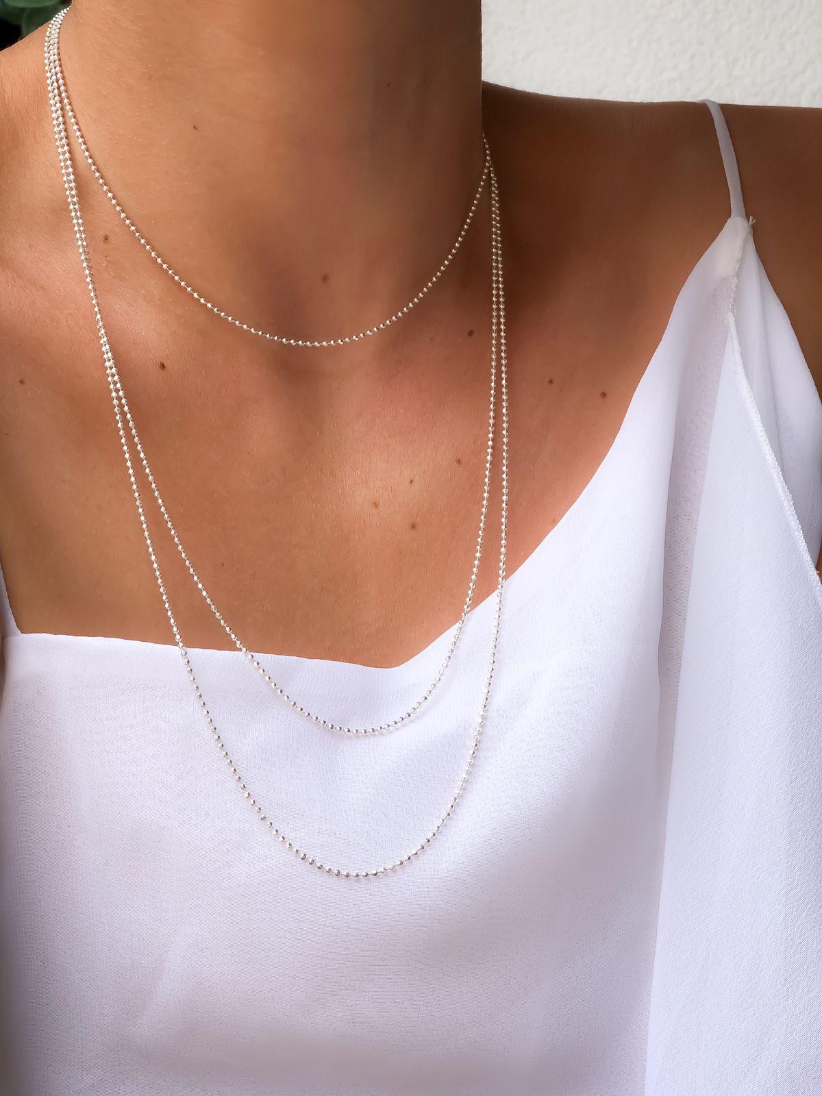 Corrente Diamantada 150 cm Prata 925