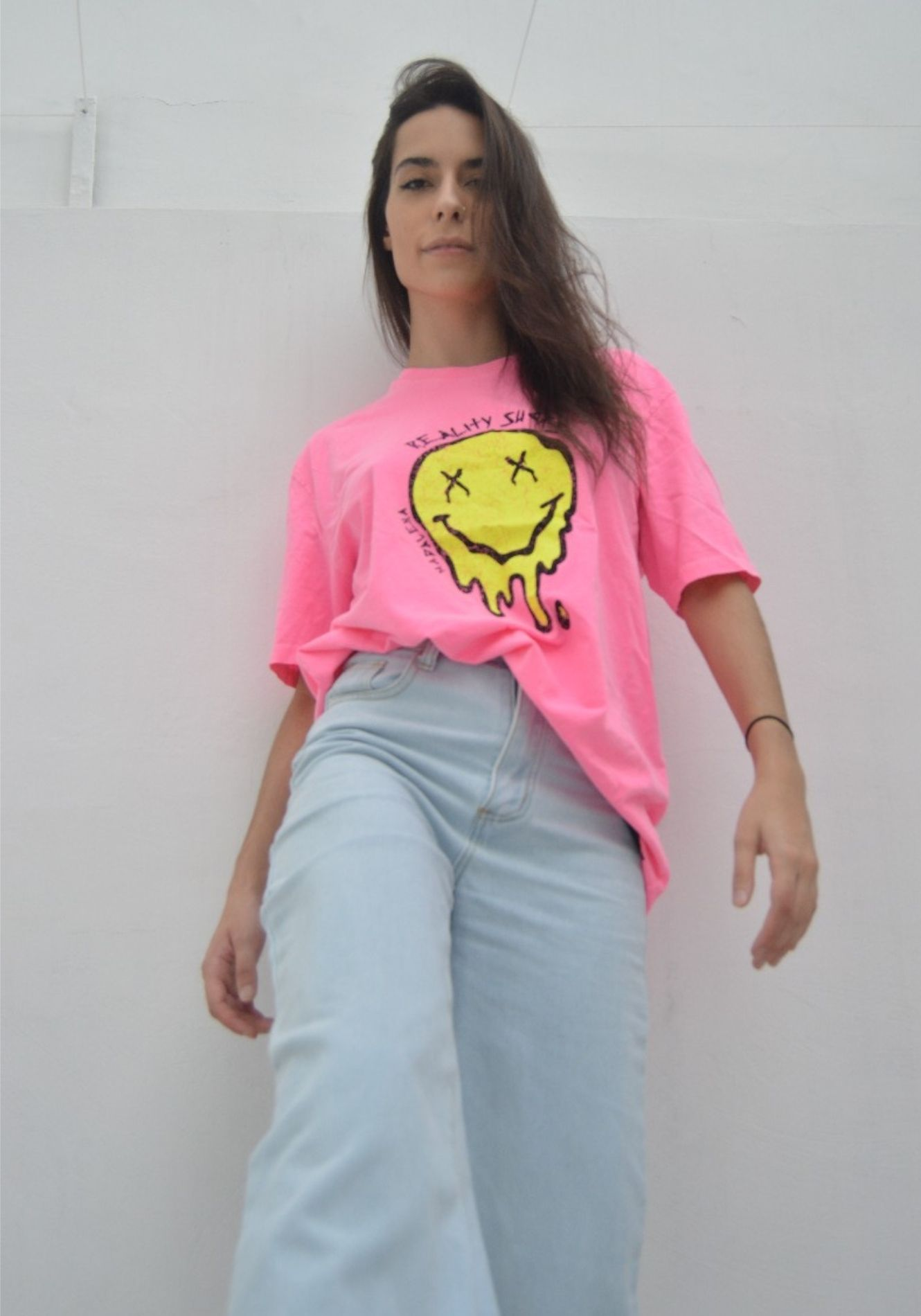 Camiseta Oversized Smiley Pink