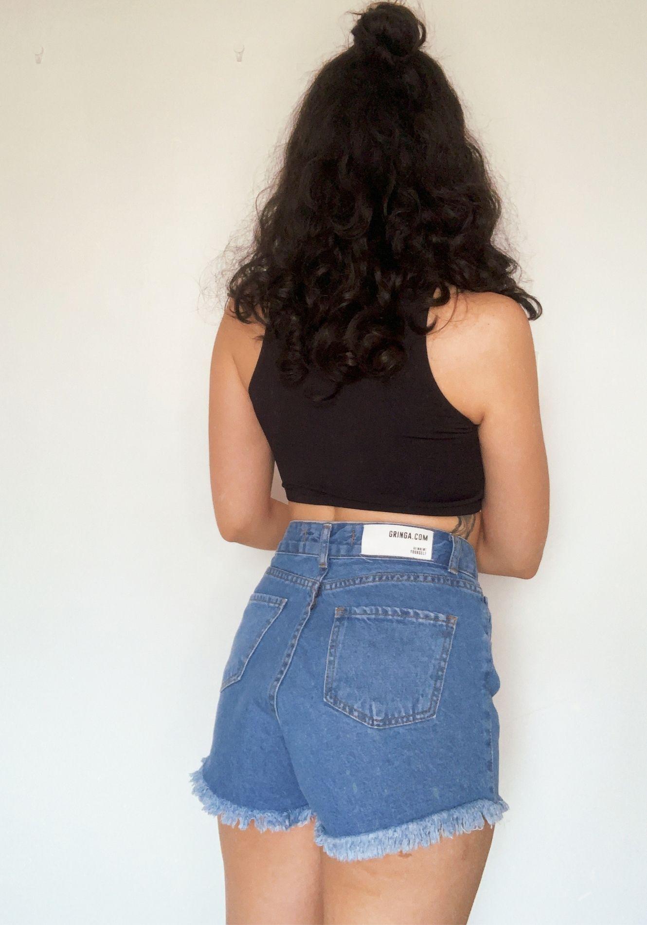 Shorts Jeans Hot Pants Lavagem Média