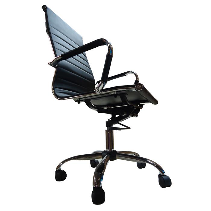 Cadeira Presidente em Couro PU PEL-1190H Preta Design Charles Eames