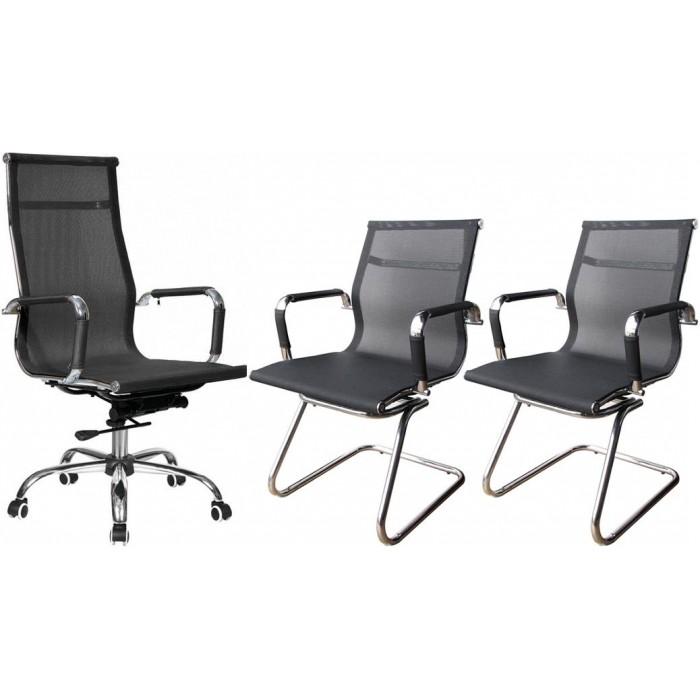 Conjunto com 1 Cadeira Presidente e 2 Cadeiras Interlocutores em Tela Mesh PEL-7010H/V Pretas Design Charles Eames