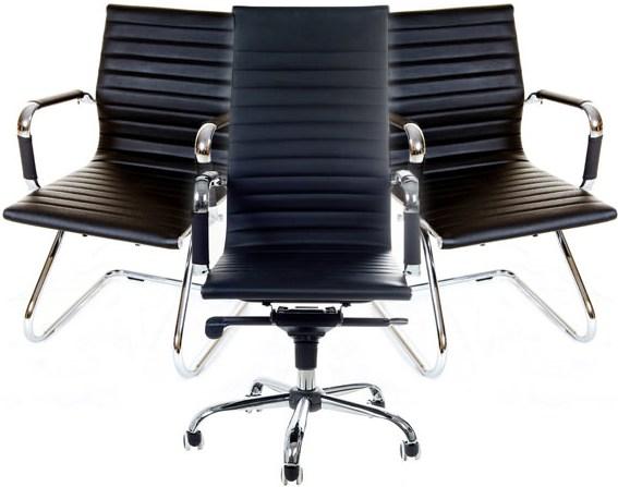 Conjunto com 1 Cadeira Presidente e 2 Cadeiras Interlocutores em Couro PU PEL-1190H/V Pretas  Design Charles Eames