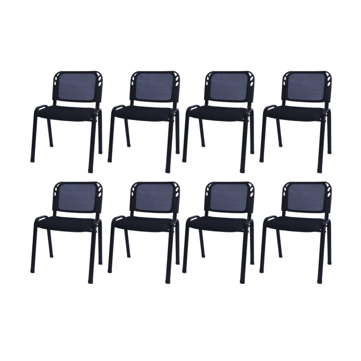Kit com 8 Cadeiras Secretária em Tela Mesh PEL-304SM Pretas Empilháveis