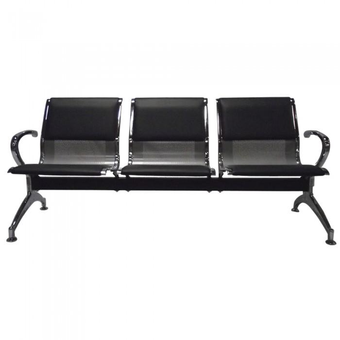 Cadeira Longarina Aeroporto Cromada com Estofamento 3 Lugares