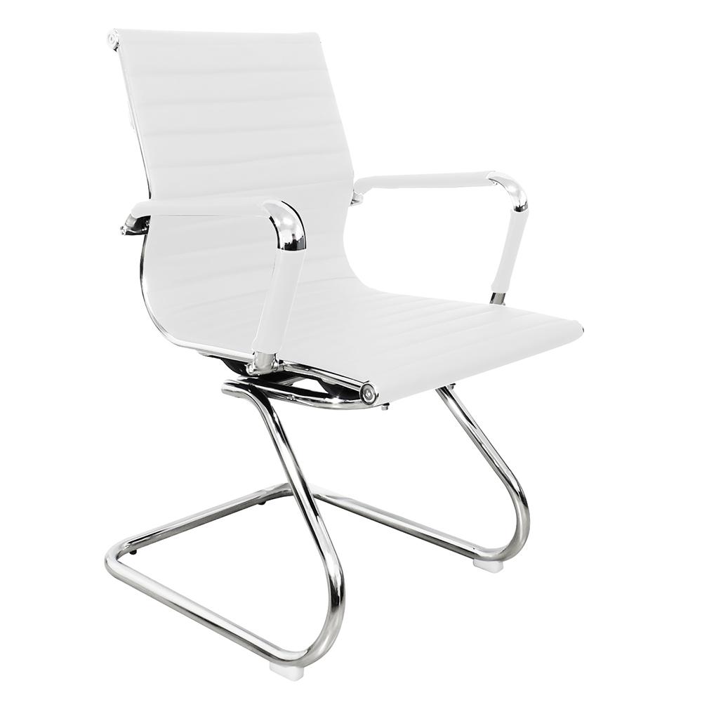Cadeira Interlocutor em Couro PU PEL-1190V Branca Design Charles Eames