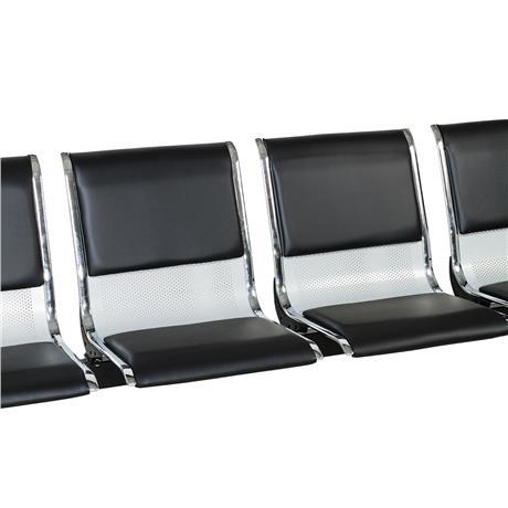 Cadeira Longarina Aeroporto Cromada com Estofamento 4 Lugares