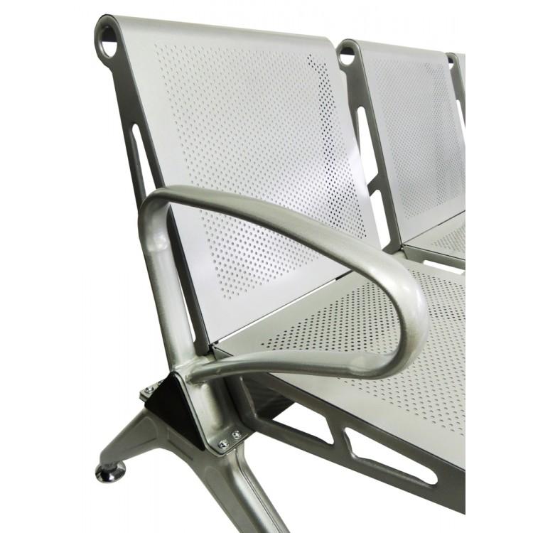 Cadeira Longarina Aeroporto Silver 3 Lugares