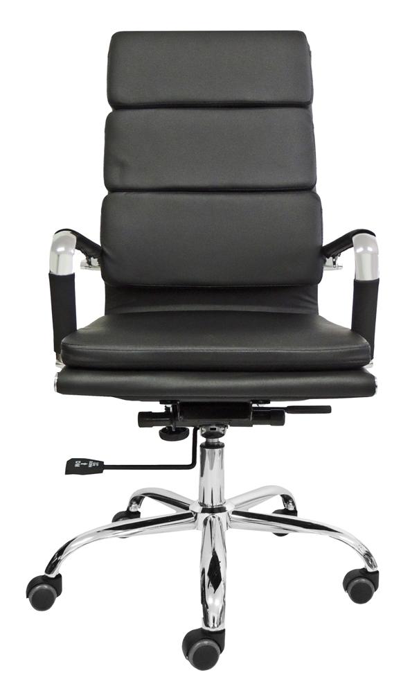 Cadeira Presidente Design Charles Eames em Couro PU Preta Pelegrin PEL-7089H3