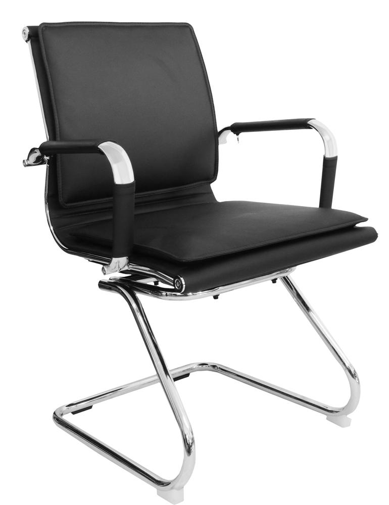 Cadeira Interlocutor Pelegrin em Couro PU PEL-8003V Preta Design Charles Eames