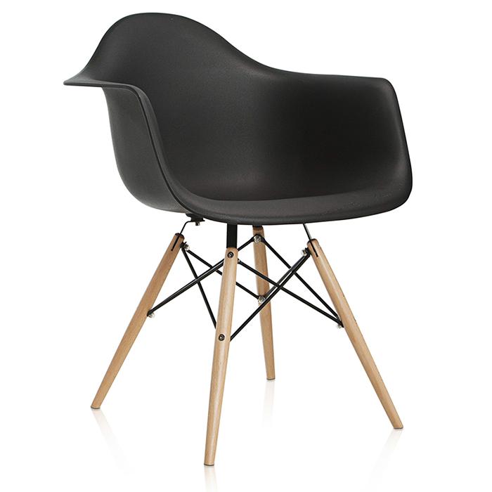 Cadeira em ABS com Braços PW-082 Preta com Design Charles Eames Dkr Eiffel