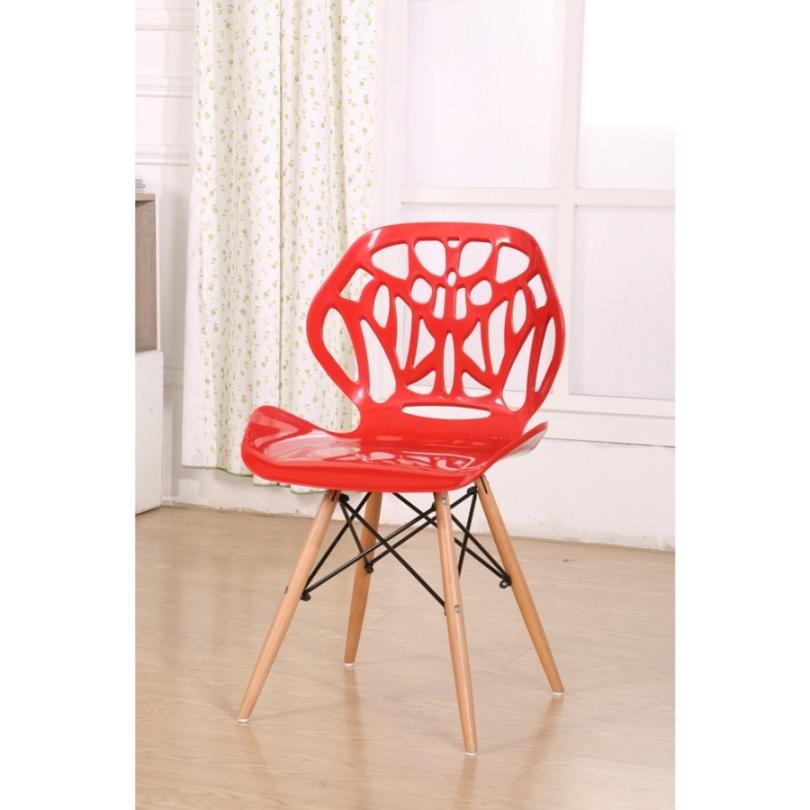 Cadeira em ABS A-001 Vermelha com Design Moderna Eiffel Dkr Charles Eames