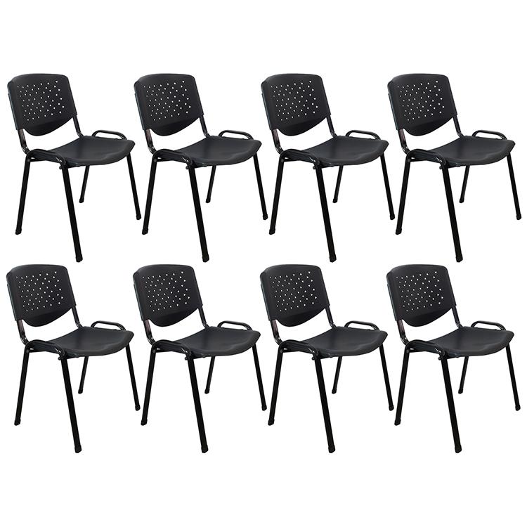 Conjunto com 8 Cadeiras Universitárias em Polipropileno PEL-304PL Pretas Empilháveis