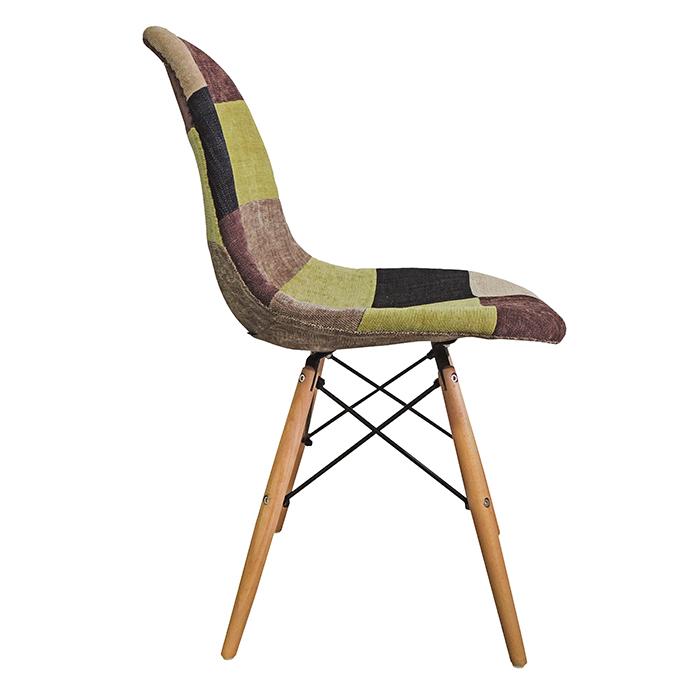 Conjunto Cadeira em ABS FW-070F Patchwork e Mesa Coffe Eiffel Wood