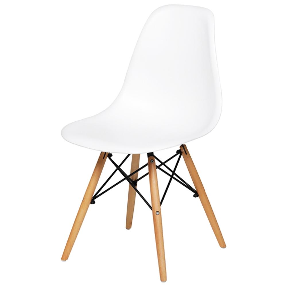 KIT Com 4 Cadeiras em ABS PW-071 Branca Pelegrin com Design Charles Eames Dkr Eiffel