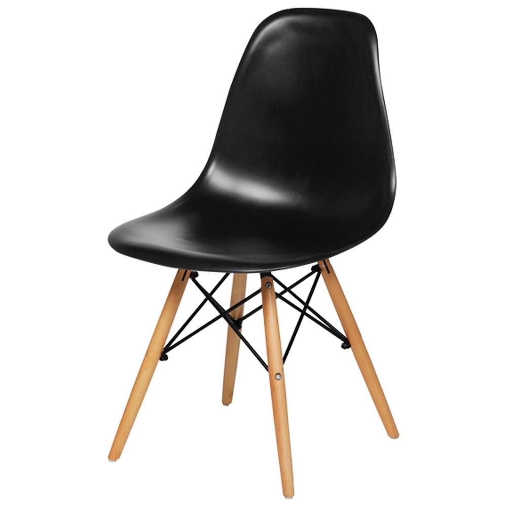 KIT Com 4 Cadeiras em ABS PW-071 Preto Pelegrin com Design Charles Eames Dkr Eiffel