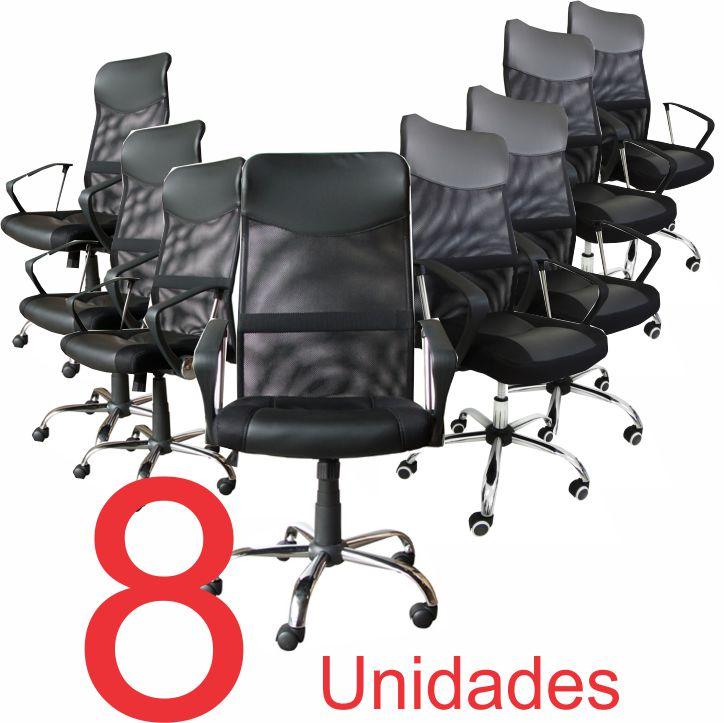 KIT com 8 Cadeiras Presidente em Tela Mesh PEL-8009 Preta
