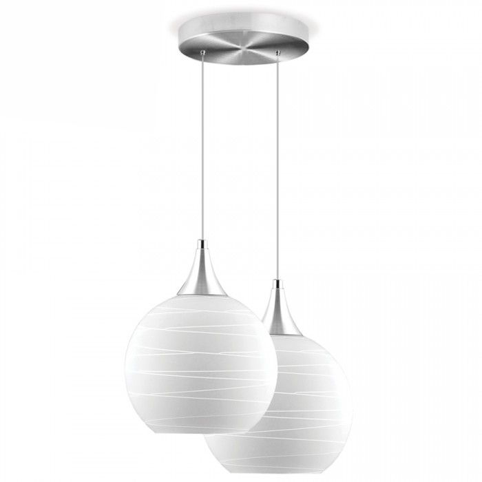Lustre Double Ball Pelegrin PEL-018 Metal Vidro Branco