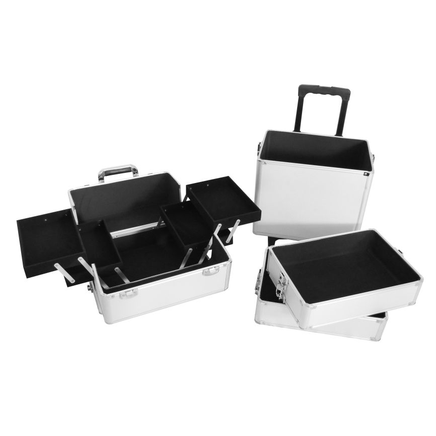 Maleta Maquiagem Alumínio Profissional Com Divisórias e rodízios Pelegrin PEL-M1003