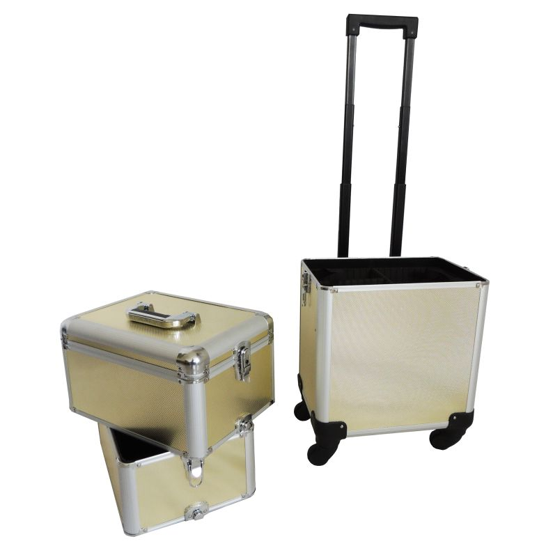Maleta Maquiagem Alumínio Profissional Com Divisórias e rodízios Pelegrin PEL-M1006