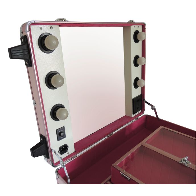 Maleta Camarim Maquiagem Alumínio Profissional Suporte Retrátil Divisórias PEL-M1008
