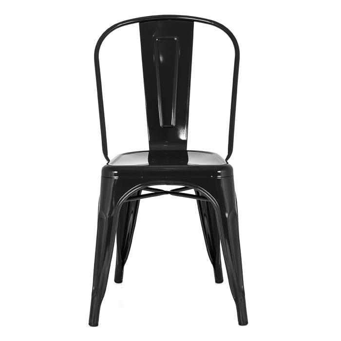 Cadeira Fixa Design Tolix Metal Pelegrin PEL-1518 Preta
