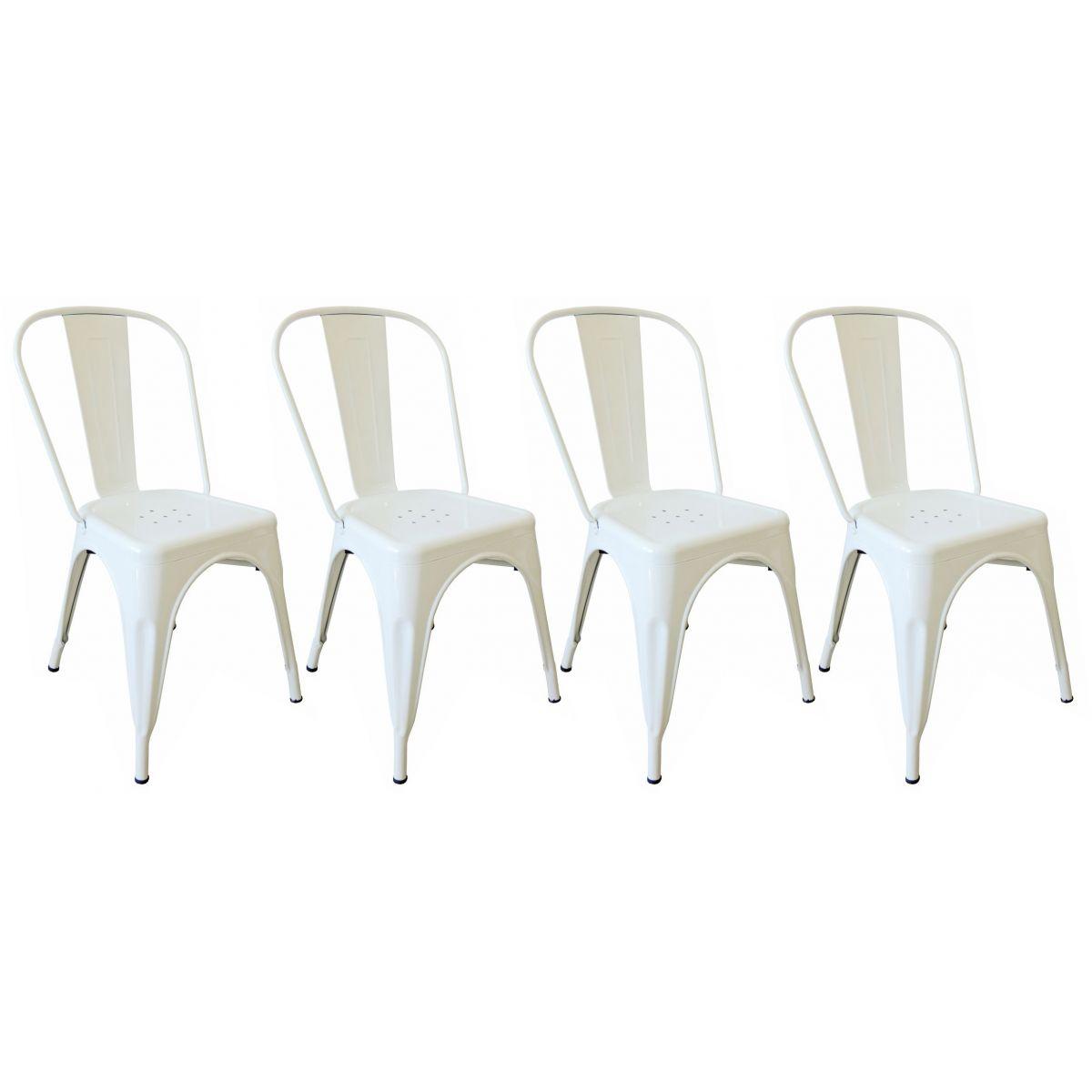 KIT 4 Cadeiras Design Tolix Metal Pelegrin PEL-1518 Cor Branca