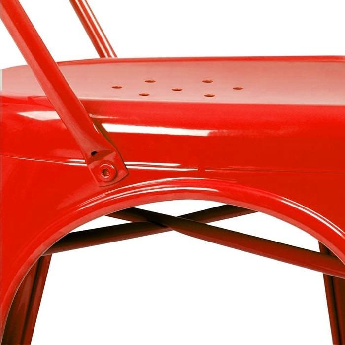 KIT 6 Cadeiras Design Tolix Metal Pelegrin PEL-1518 Cor Vermelha
