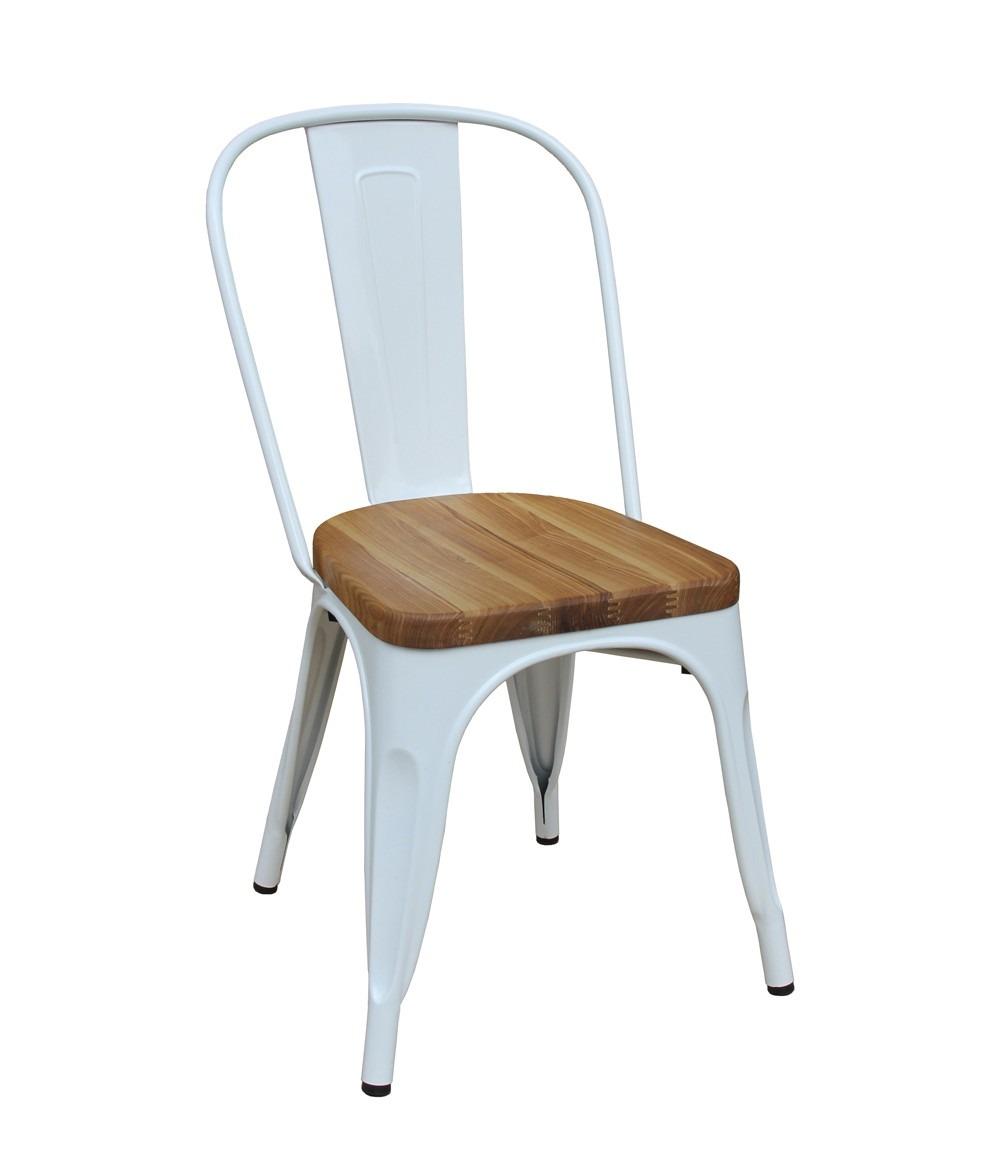 Kit 4 Cadeiras Design Tolix Metal Assento em Madeira Pelegrin PEL-1520