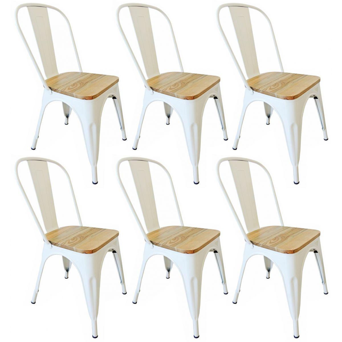 Kit 6 Cadeiras Design Tolix Metal Assento em Madeira Pelegrin PEL-1520