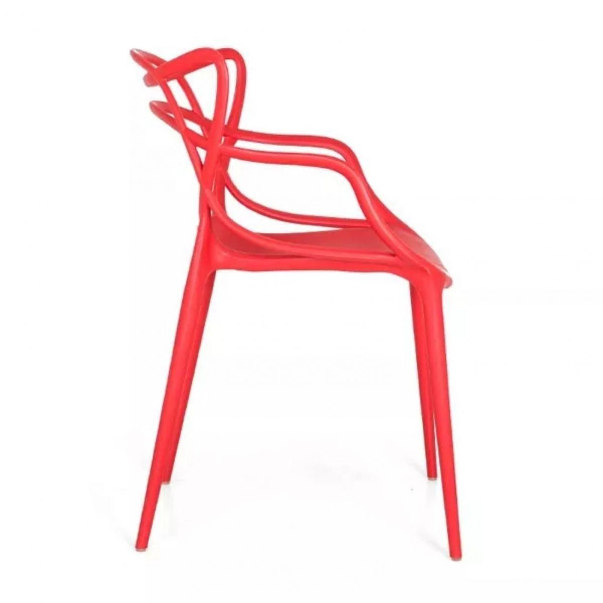 Kit 4 Cadeiras Design Allegra Pelegrin PEL-1737 Cor Vermelha