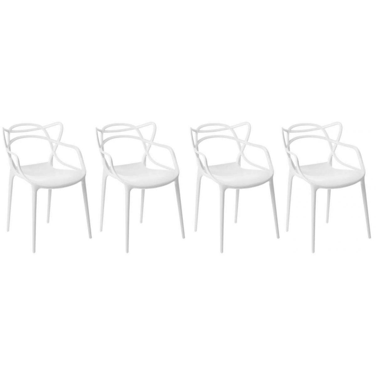 Kit 4 Cadeiras Design Allegra Pelegrin PEL-1737 Cor Branca