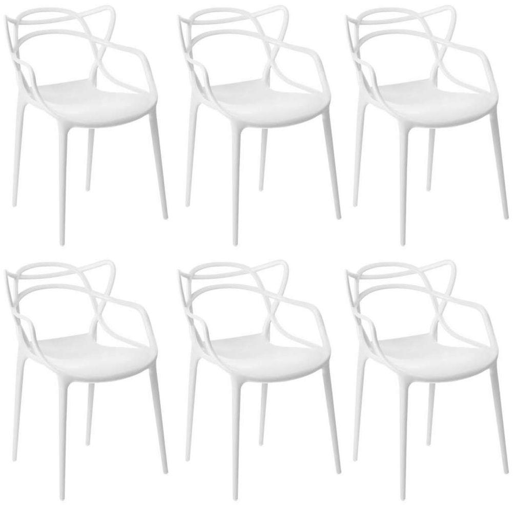 Kit 6 Cadeiras Design Allegra Pelegrin PEL-1737 Cor Branca
