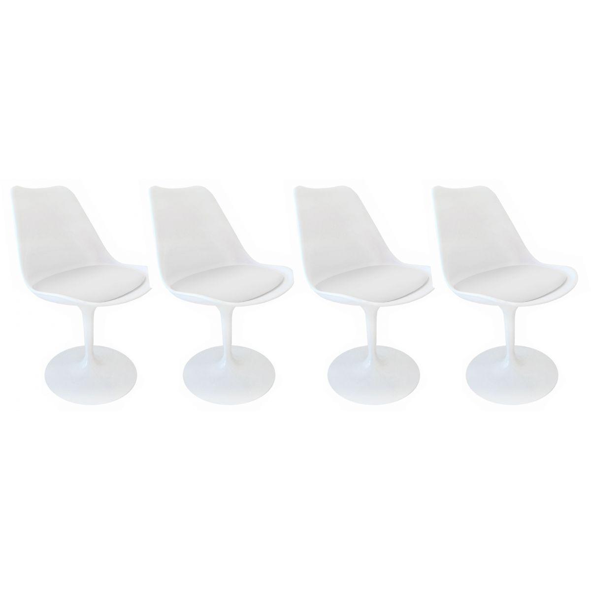 Kit 4 Cadeiras Design Saarinen Pelegrin PEL-1855H Giratória Branca em ABS