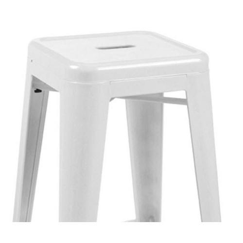 Kit 6 Banquetas Design Tolix Pelegrin PEL-1516 Fixa em Metal Cor Branca