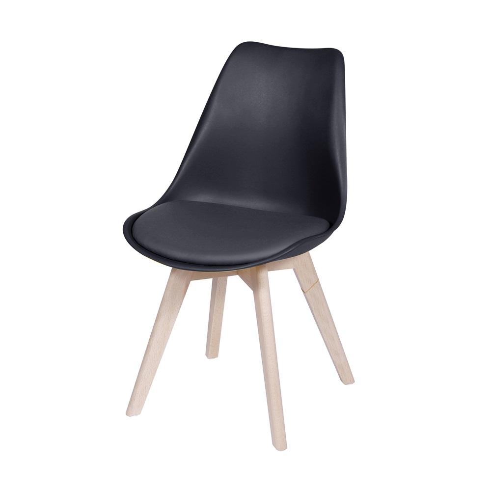 Kit 4 Cadeiras Design Modesti Charles Eames PEL-1855B Cor Preta