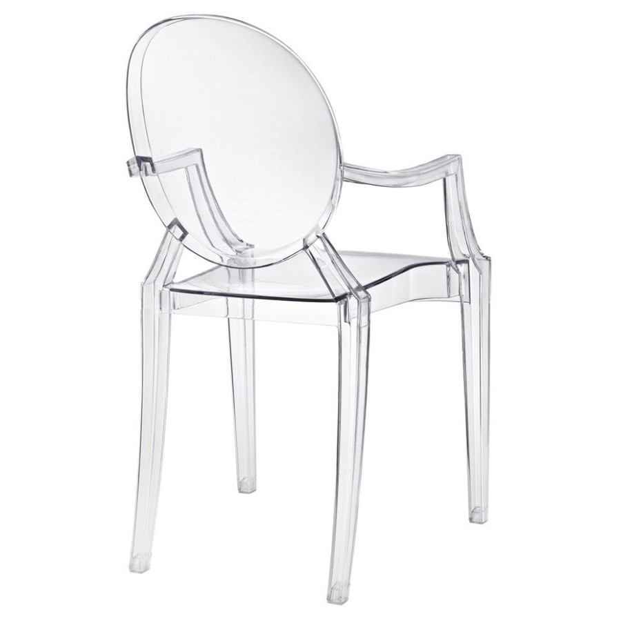 kit 4 Cadeiras Design Louis Ghost Pelegrin PEL-1752A Fixa com Braço - Acrílico Transparente