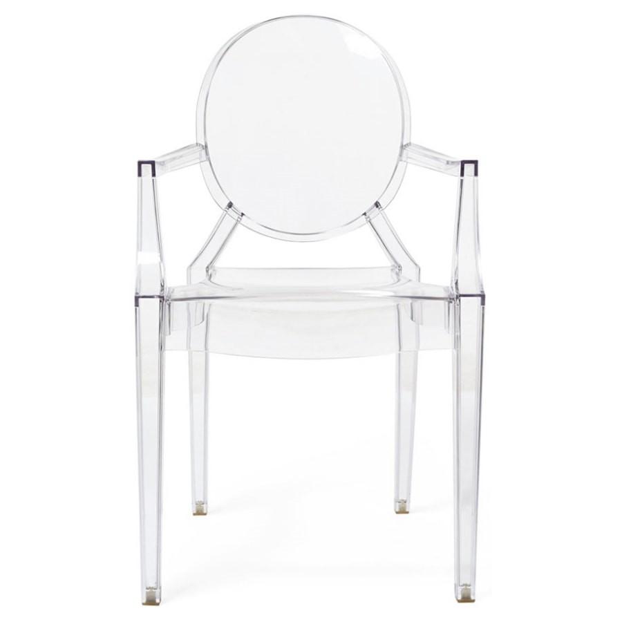 kit 6 Cadeiras Design Louis Ghost Pelegrin PEL-1752A Fixa com Braço - Acrílico Transparente
