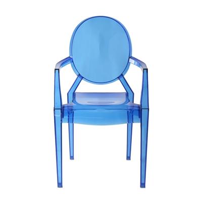 Cadeira Design Louis Ghost Pelegrin PEL-1752A Fixa com Braço - Acrílico Transparente em Azul
