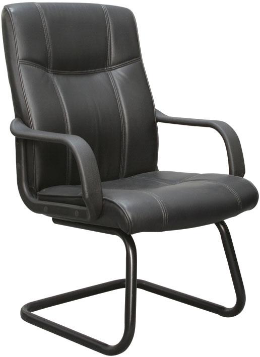Conjunto com 1 Cadeira Presidente e 2 Cadeiras interlocutores Pelegrin Em couro PU Preta PEL-229H/V