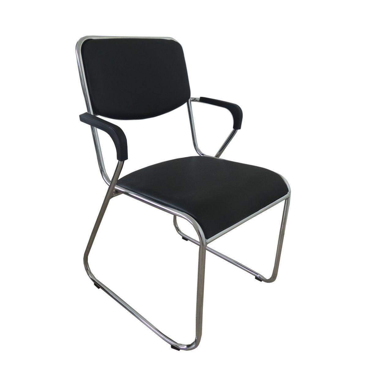 Cadeiras Interlocutor Empilhável com Braço Pelegrin em Couro PU Preta Pel-1118