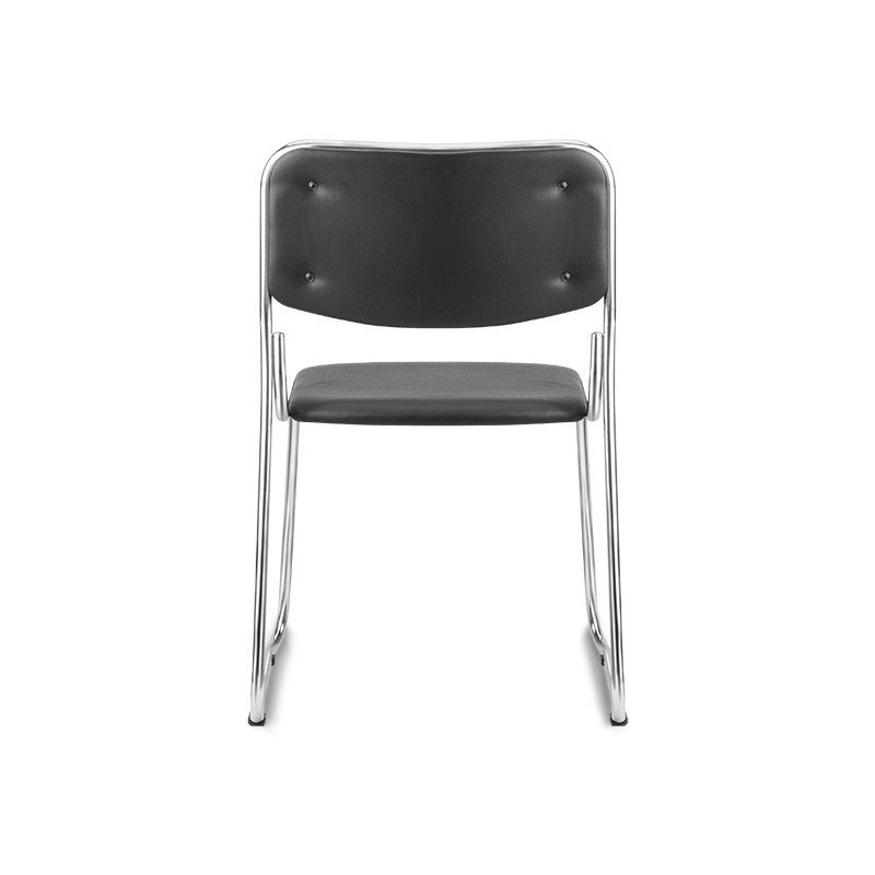 Cadeiras Interlocutor Empilhável Pelegrin em Couro PU Preta Pel-1114