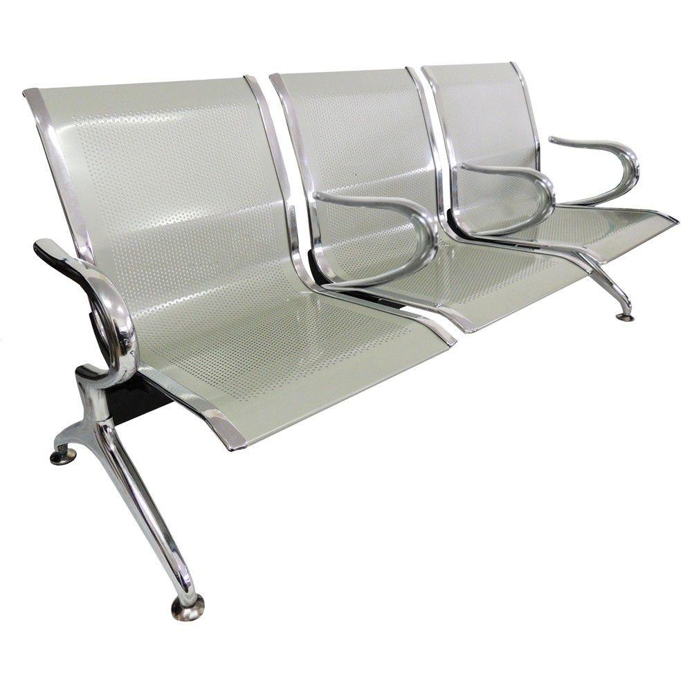 Cadeira Longarina Aeroporto Cromada 3 Lugares Com Braços