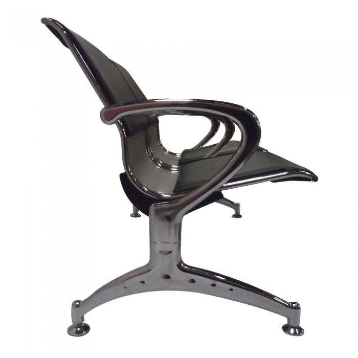 Cadeira Longarina Aeroporto Cromada com Estofamento 2 Lugares Com Braços