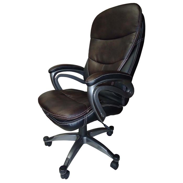 Conjunto com 1 Cadeira Presidente e 2 Cadeiras Interlocutores em Couro PU PEL-9018H/V Tabaco com Preto Pelegrin