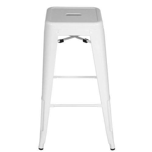 Banqueta Design Tolix Pelegrin PEL-1516 Fixa em Metal Branca